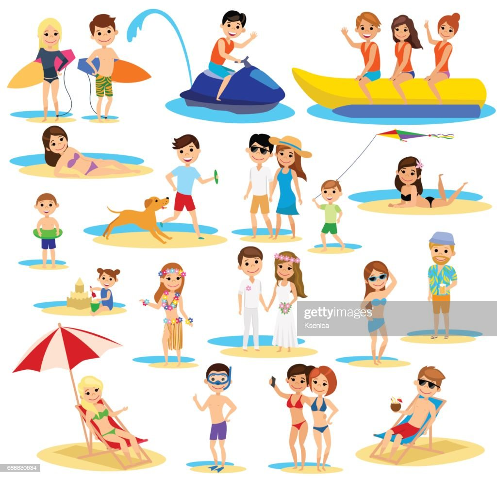 People on the beach set. Summer vacation. The cartoon style.
