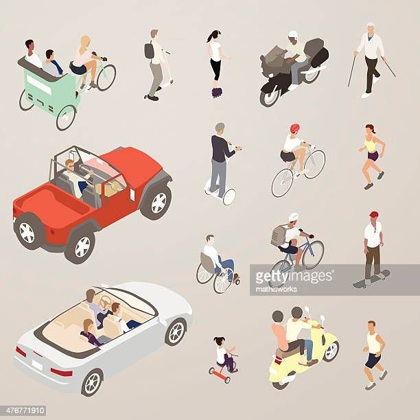 people on the go - flat icons illustration - mathisworks vehicles stock illustrations