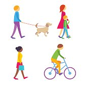 People on the street.  Flat vector icons.