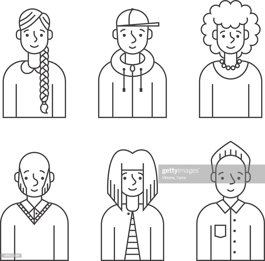 People outline gray icons vector set (men and women).