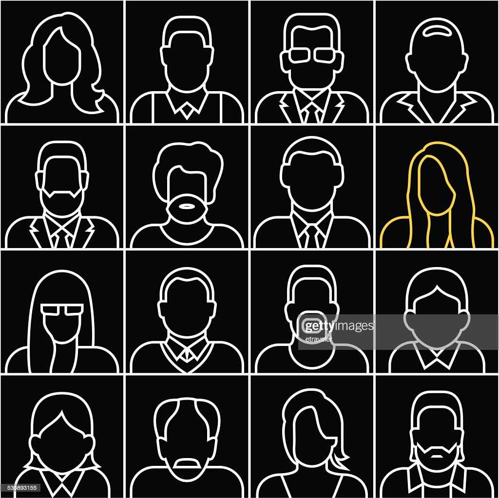 People outline silhouettes vector icons : Vectorkunst