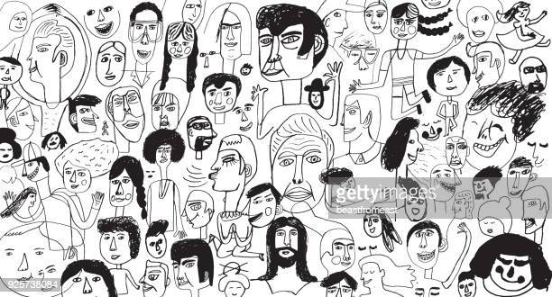 people pattern backround - human face stock illustrations