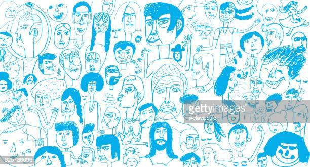 menschen muster backround - variation stock-grafiken, -clipart, -cartoons und -symbole