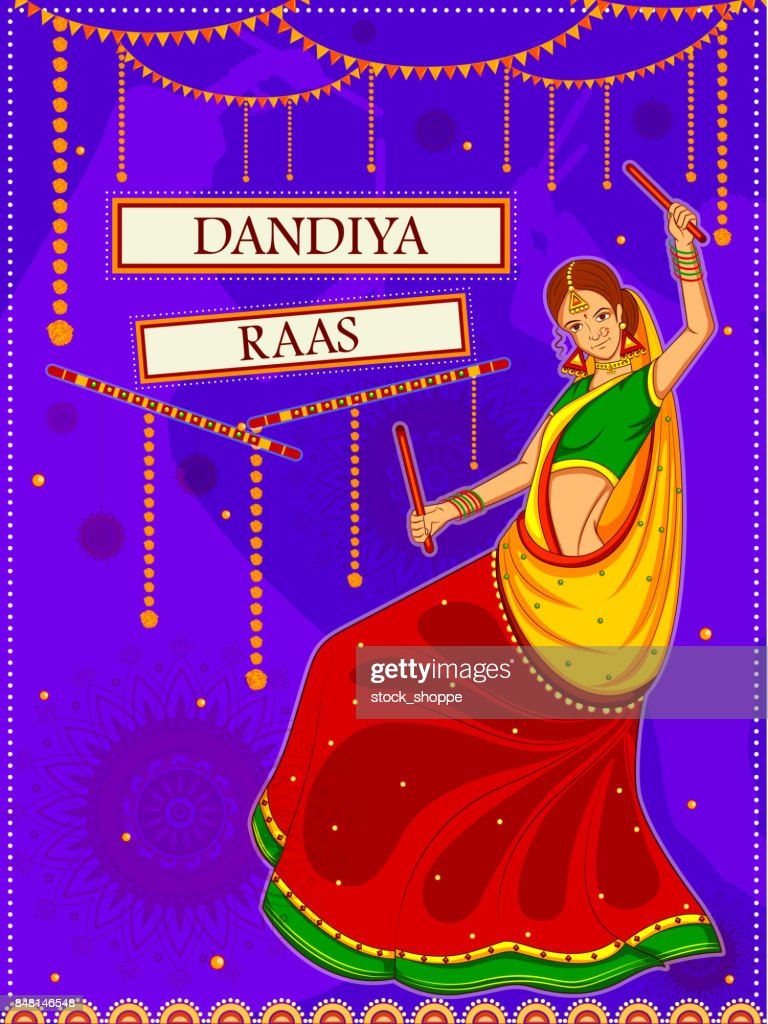 People Performing Garba Dance On Poster Banner Design For Dandiya Night High Res Vector Graphic Getty Images