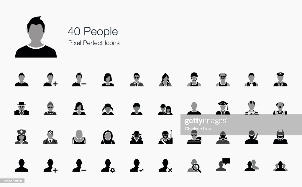 40 People Pixel Perfect Icons