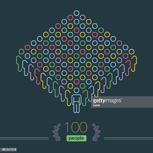 100 people - pixel perfect infographic - male team leader - teamwork stock illustrations, clip art, cartoons, & icons