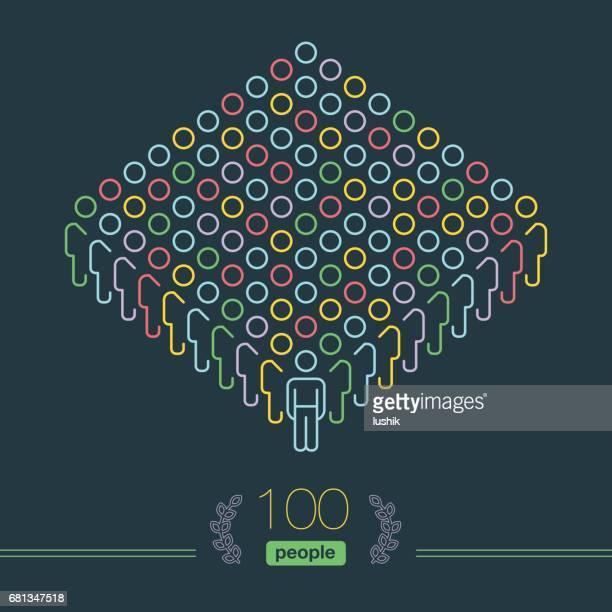 100 人 - ピクセル完璧なインフォ グラフィック - 男性のチーム リーダー