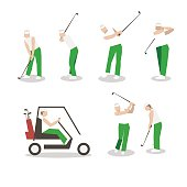 People playing Golf vector set. swing with a Golf club.