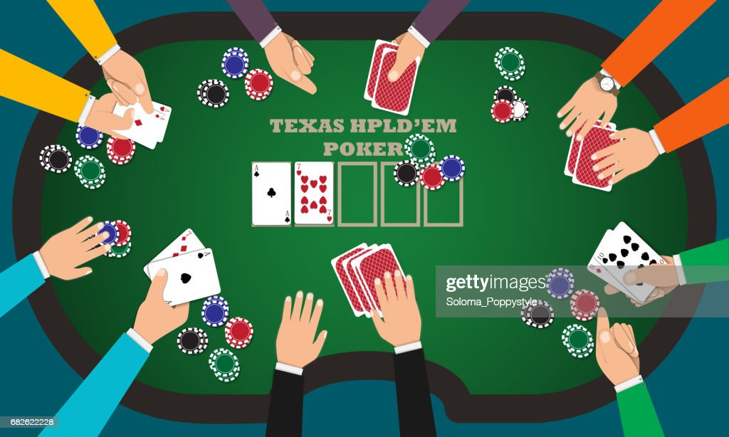 People playing poker around a poker table with dealer.