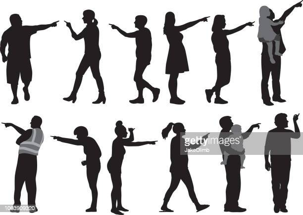 people pointing silhouettes - aiming stock illustrations