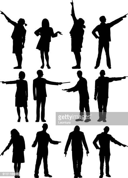 people pointing - instructor stock illustrations