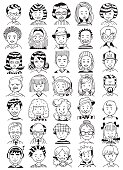 People Portrait Set. Collection of Various Men and Women Faces. Hand Drawn Line Art Cartoon Vector illustration. Black and White illustration.