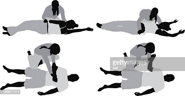 people practicing yoga with the help of instructor - yoga instructor stock illustrations, clip art, cartoons, & icons
