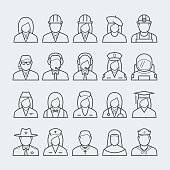 People professions and occupations icon set in thin line style #2