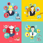 people professions concept icons set in flat design