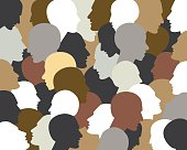 People profile heads. Vector background pattern.