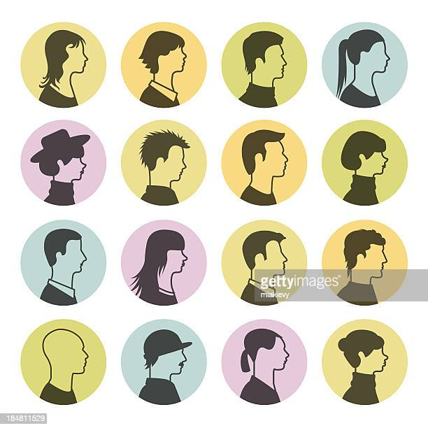 people profile icons - balding stock illustrations