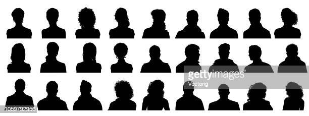 stockillustraties, clipart, cartoons en iconen met mensen profile silhouetten - silhouet