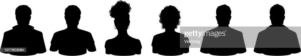 People Profile Silhouettes : stock illustration
