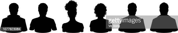 people profile silhouettes - plain background stock illustrations