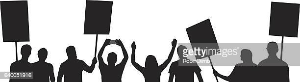 people protesting silhouettes - political crowd stock illustrations