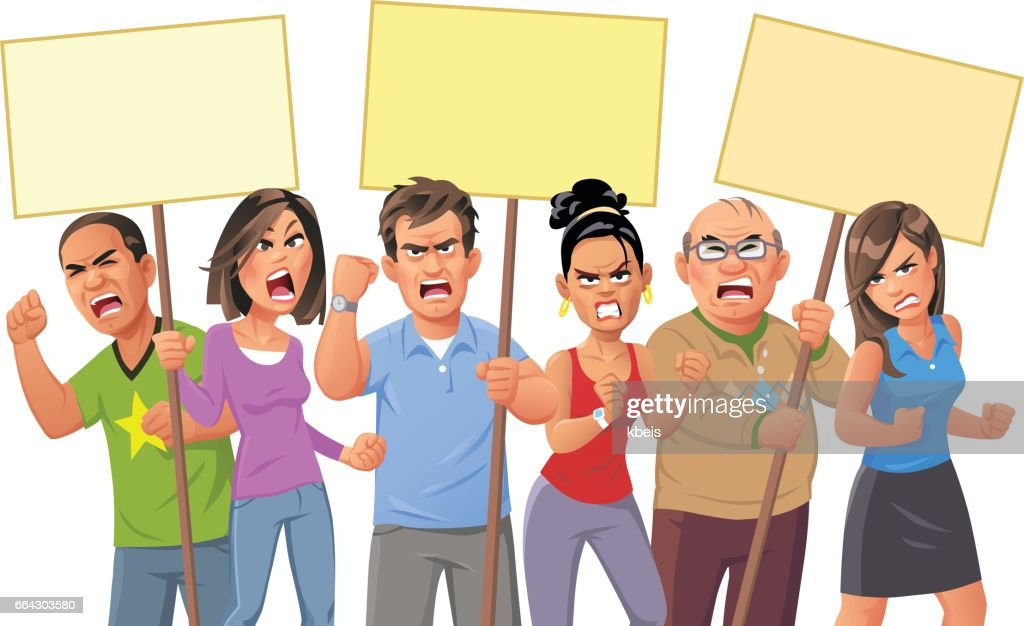 People Protesting : stock illustration