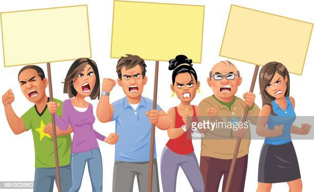 people protesting - anger stock illustrations
