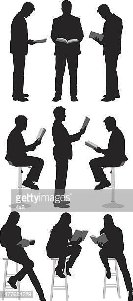 people reading books - stool stock illustrations, clip art, cartoons, & icons