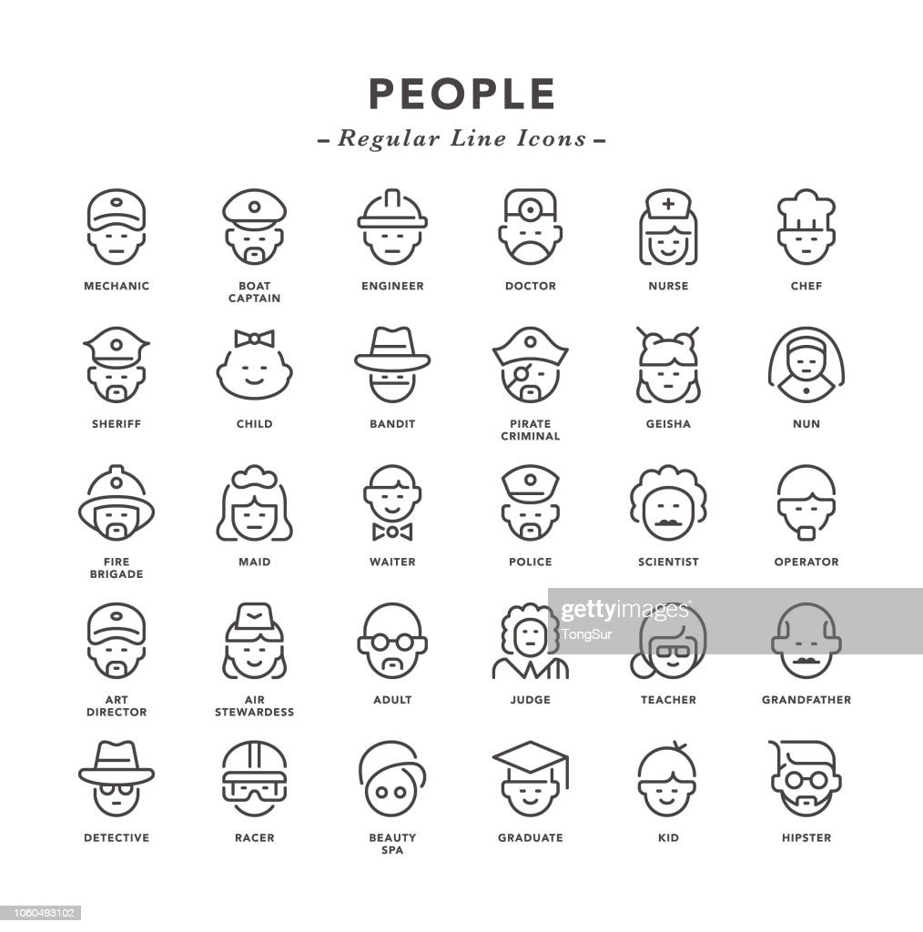 People - Regular Line Icons : stock illustration