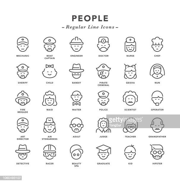 people - regular line icons - avatar stock illustrations