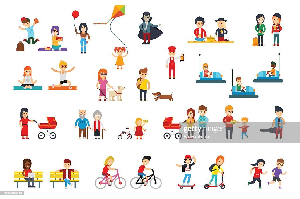 People rest in the park vector flat design isolated