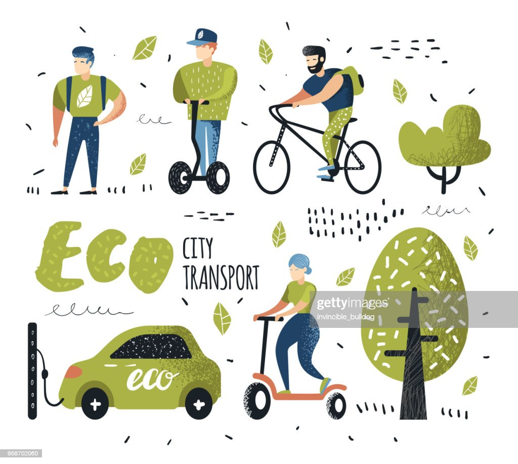 People Riding Eco Transportation. Green Urban City Transport. Ecology Concept. Man on Bicycle, Woman on Pushscooter, Electrical Car. Vector illustration