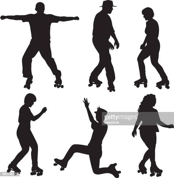 ilustraciones, imágenes clip art, dibujos animados e iconos de stock de personas siluetas de patinaje de rodillo - pareja bailando cuerpo entero