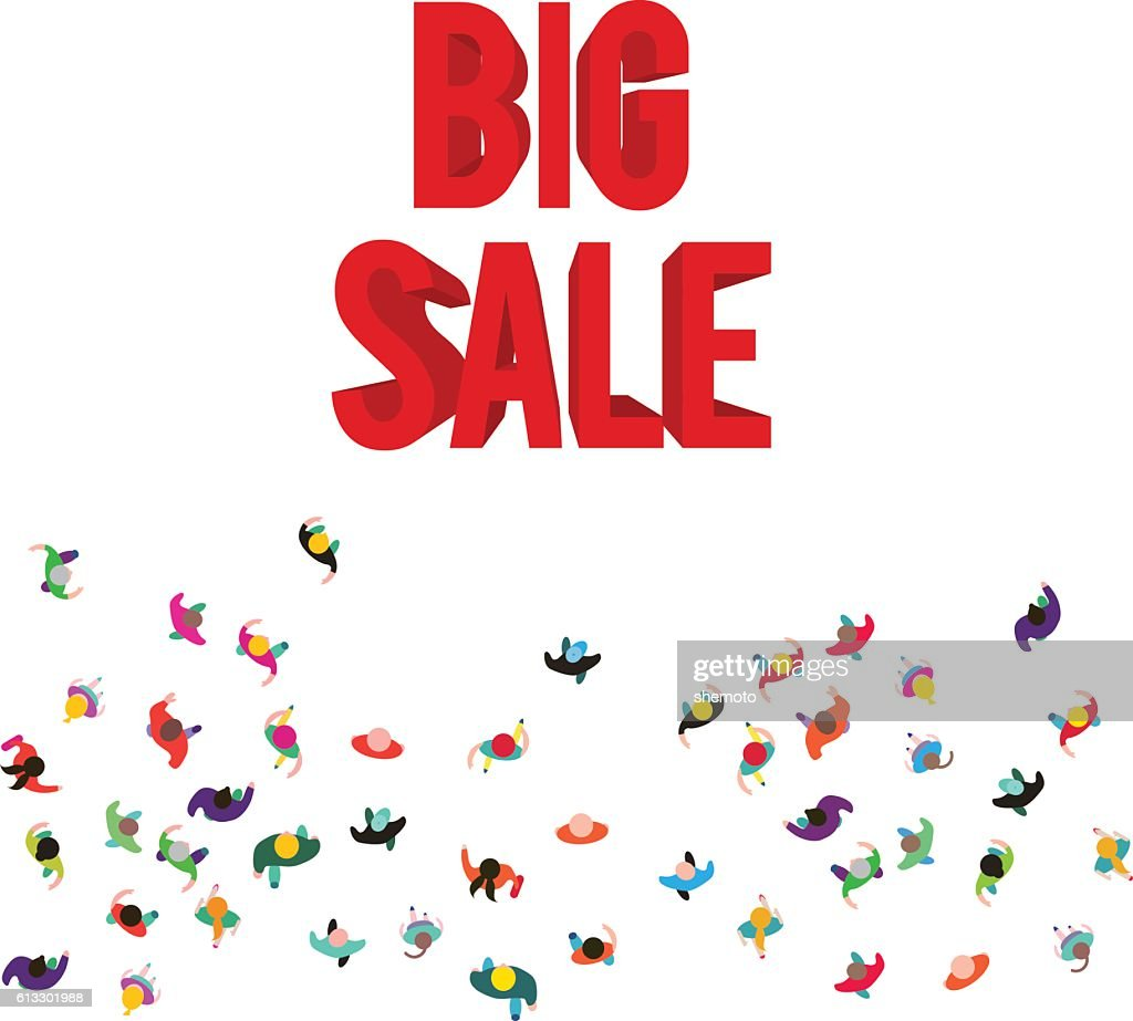 People run to an red 3D big sale