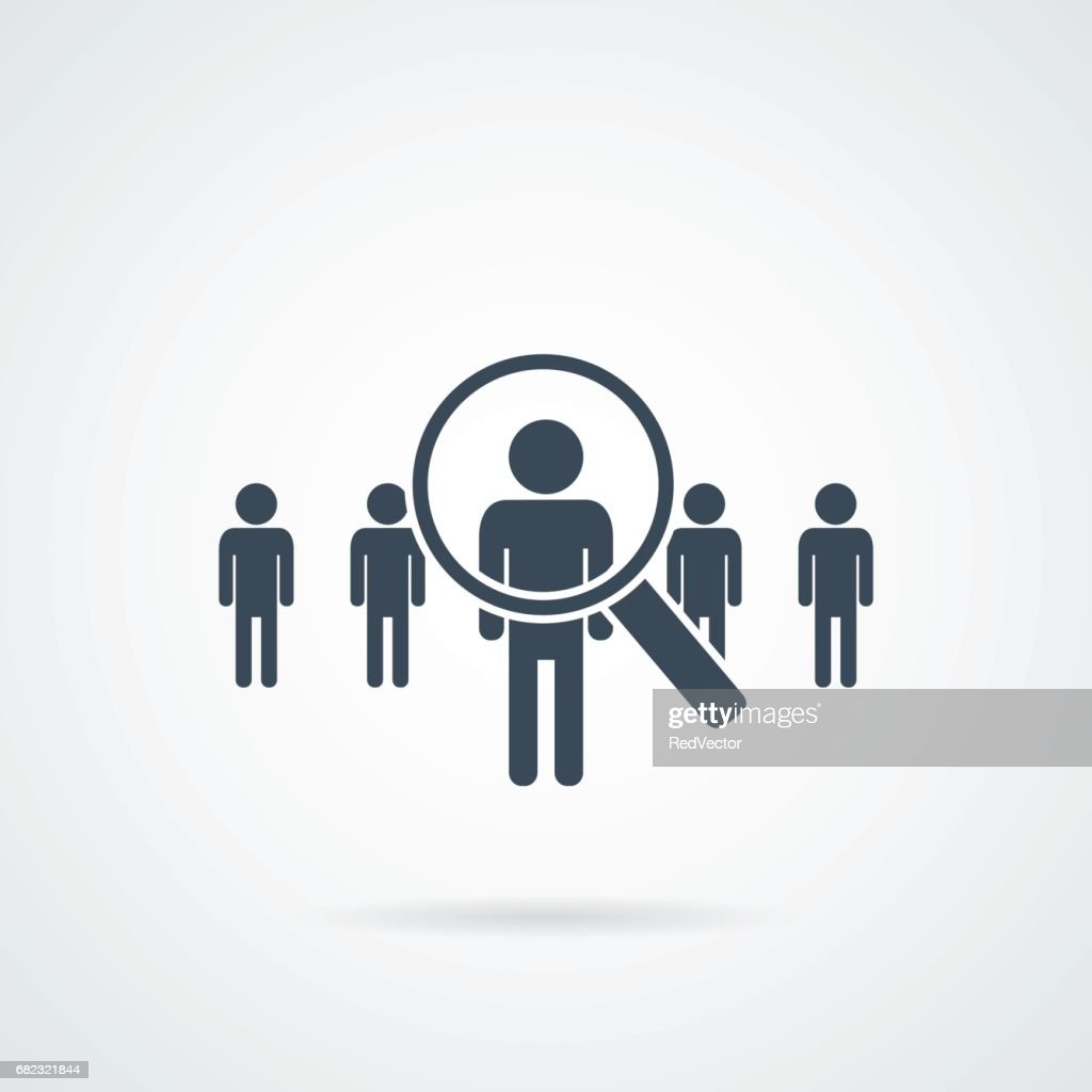 people Search vector icon.Abstract people silhouette in magnifier shape. Design concept for search for employees and job