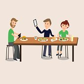 People Selfie with food with smartphone ,tablet  vector. illustration EPS10.