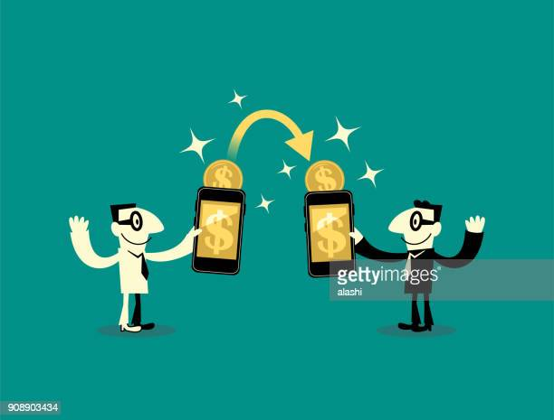 People (two businessmen) sending and receiving dollar sign currency money wireless with their mobile phones. Their hands holding smart phones with banking payment apps