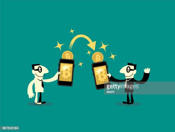 People (two businessmen) sending and receiving money (bitcoin, cryptocurrency) wireless with their mobile phones. Their hands holding smart phones with banking payment apps