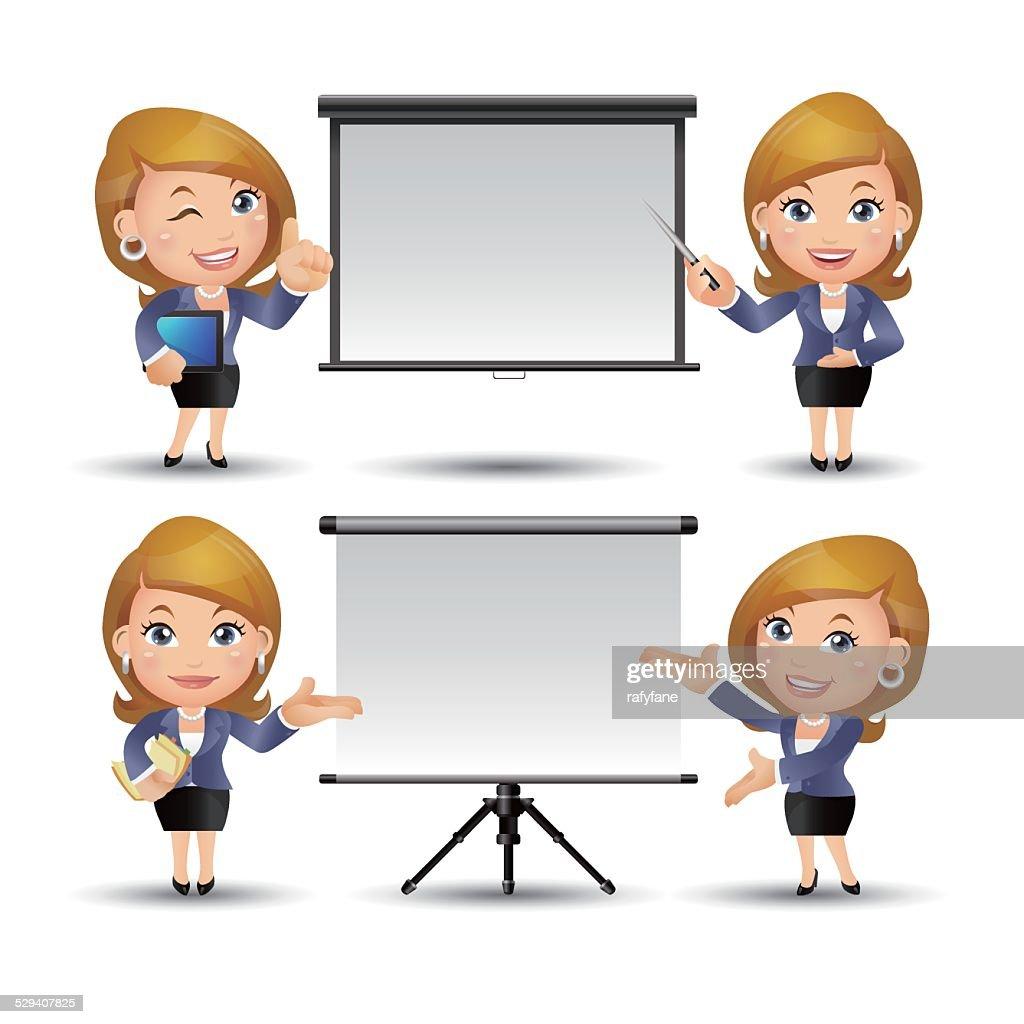People Set - Business - Office women giving presentation