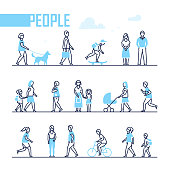 People - set of line design style characters