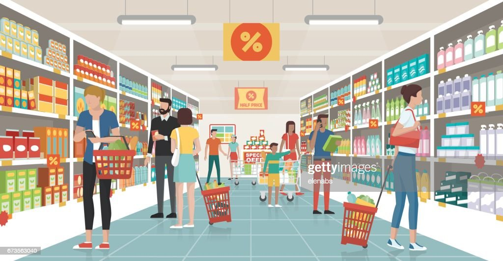 People shopping at the supermarket