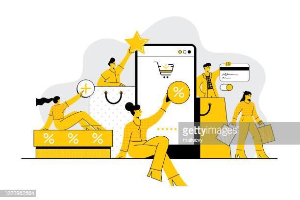 オンラインの概念を買い物する人々 - スロベニア点のイラスト素材/クリップアート素材/マンガ素材/アイコン素材