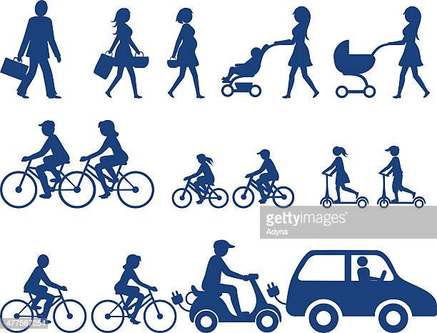 people silhouettes - family cycling stock illustrations, clip art, cartoons, & icons