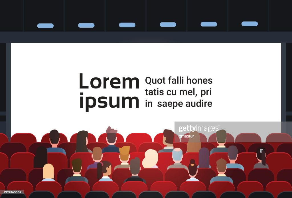 People Sit Cinema Hall Back Rear View Looking Ar Screen With Copy Space