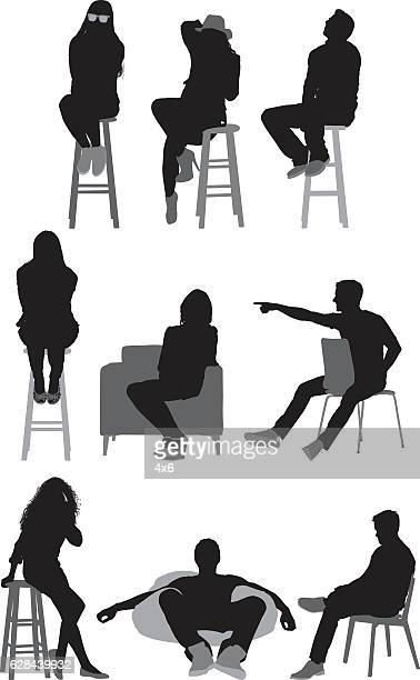 people sitting and in various actions - stool stock illustrations, clip art, cartoons, & icons