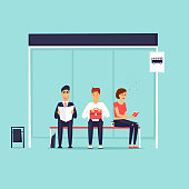 People sitting at the bus stop. Flat design vector illustration.