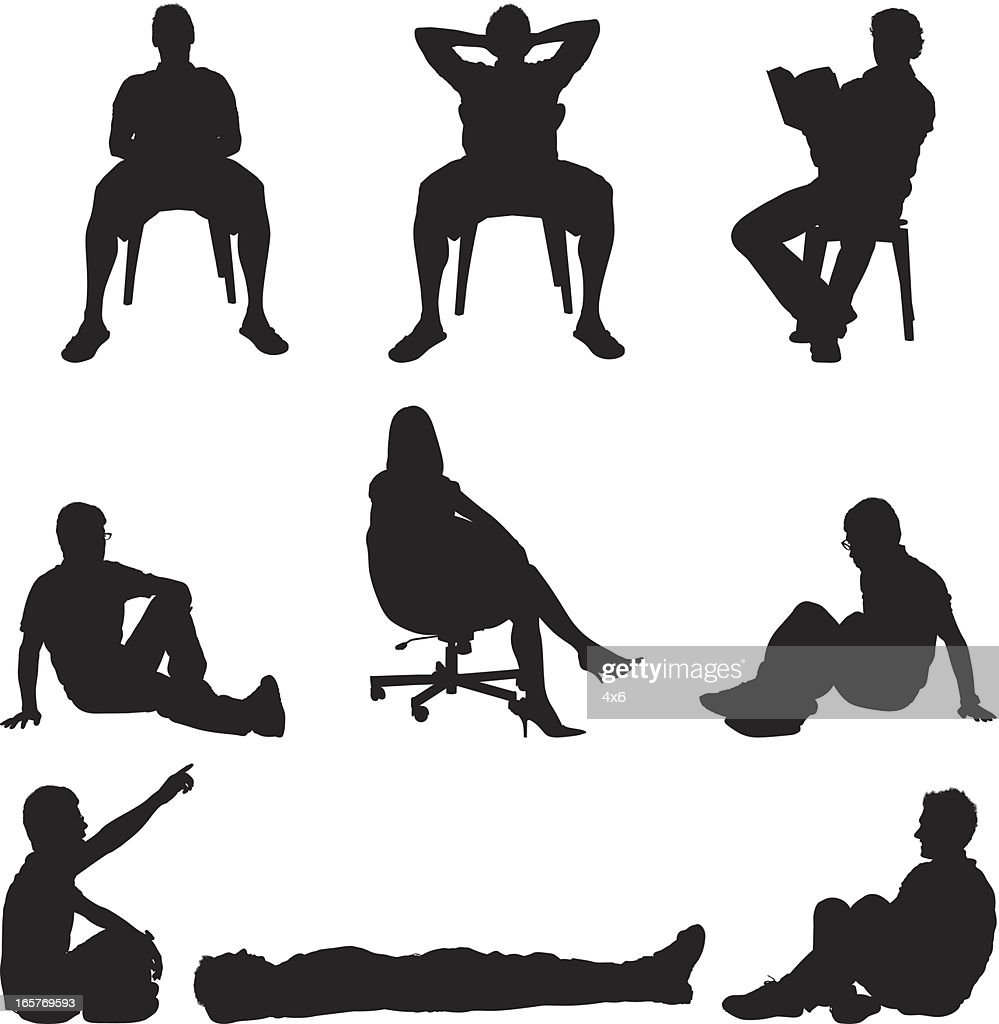People sitting in chairs and on the floor : stock illustration