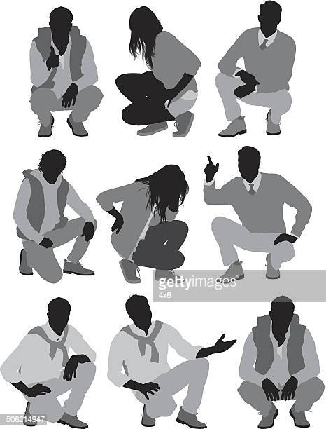 people sitting in squatting - crouching stock illustrations, clip art, cartoons, & icons