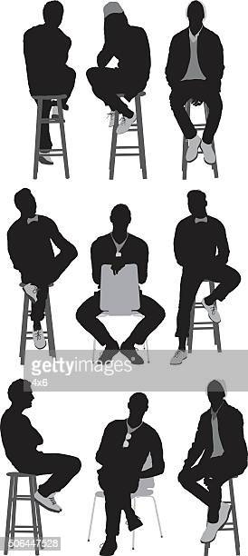 people sitting on stool - stool stock illustrations, clip art, cartoons, & icons