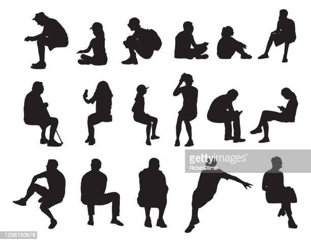 people sitting sihouettes - sitting stock illustrations